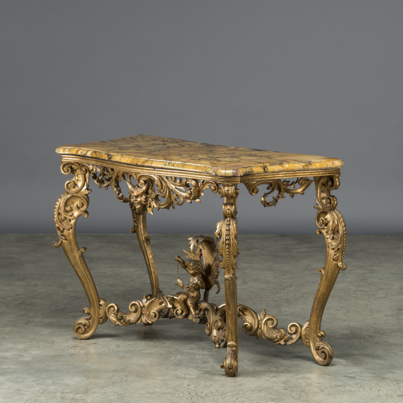 """""""Italian console with plate of """"""""Breche d'Alep"""""""" travertine marble"""""""