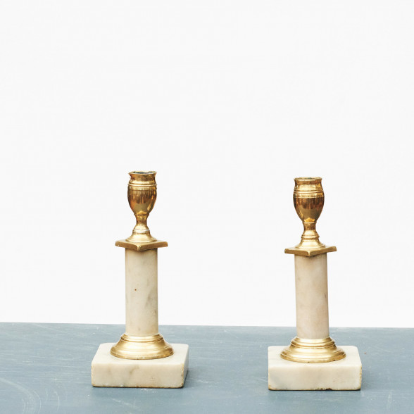 Pair of Swedish Gustavian Marble Candlesticks