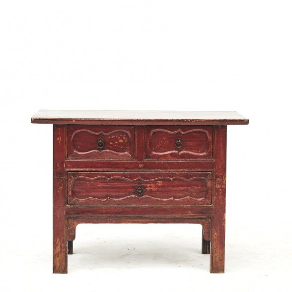 Mid-19th Century Chinese Red Lacquer Sideboard with 3 Drawers